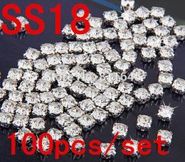 Wholesale Crystal Ss18 - SS18 100pcs Clear Crystal Sew on Rhinestones Flatback Claw Rhinestones With Silver Plated Setting Chatons Glass Stones