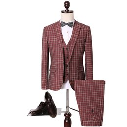 Wholesale Korean Casual Suits For Men - Wholesale-Hot-selling 2016 Men's Suits Solid And Stripped Blazers For Men Fashion Casual Vests Korean Style Plus Size 4xl 5xl High