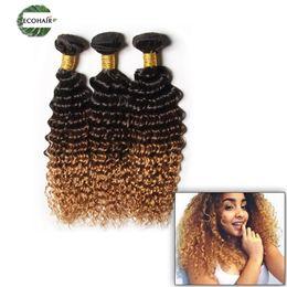 Wholesale Deep Curls Weave - Unprocessed Brazilian Ombre Deep Wave Hair Weaves 4 Bundles Ombre Hair Extensions Brazilian Deep Curls 3 Tone Human Hair Weave