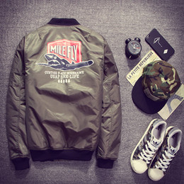 Wholesale american bomber - Fall-2016 Ma1 Army Green  motorcycle Flight Jacket Pilot Men American College Varsity Windbreaker Bomber Jacket