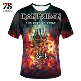 Wholesale Wholesale Book Bands - Wholesale- iron maiden shirt the book of souls 3d t shirt men top tee t-shirt male camiseta rock n roll music band 2017 skull tshirt