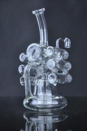 Geigenpfeife online-Creative Unique Liquid Glas Wasserpfeifen Glas Bubbler Glas Bongs Violin Recycler mit Reifen Perc 14 mm Innengewinde