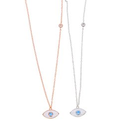 Wholesale Thin Chain Link Necklace - factory custom 2017 dainty delicate jewelry white enamel with sapphire blue cubic zirconia eye charm thin 925 sterling silver chain necklace
