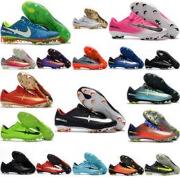 Wholesale Cheap Vapors - 2017 cheap soccer cleats Mercurial Vapor XI FG 5 soccer shoes low top mens cr7 football boots superfly cleats Original black soccer boots