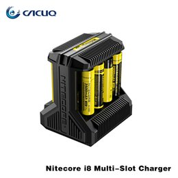 Wholesale Ecigs Chargers - Original Nitecore i8 Multi-Slot Charger for 18650 26650 e cigarette Batteries 100% ecigs Charger with LED Indicator