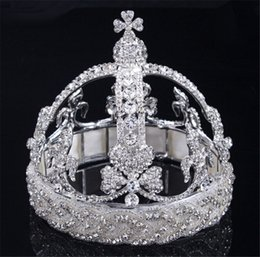 Wholesale beauty pageant tiaras - Vintage Wedding Bridal Birdcage Crown Tiara Silver Crystal Rhinestone Pageant Beauty Hair Accessories Headband Jewelry Headpieces Wholesale