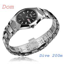 Wholesale Dom Sapphire - 2018 luxury watchWatches men luxury brand Top Watch DOM 624 quartz men wristwatches dive 200m military watch sapphire fashion relogio mascul