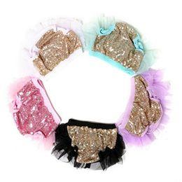Wholesale Newborn Beige Outfit - Ruffle Baby Sequins Tutu Bloomer ,Baby Girls shorties ,Newborn Outfit,Chiffon Ruffle Diaper Cover ,Sequins Pattern Girls Bloomer