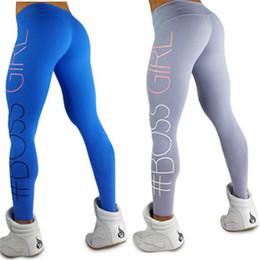 Wholesale girls high waist - Skinny High Waist Leggings Letter Printed Women Boss Girl Leggings Sportswear Stretchable Pants Fitness trousers Feminino 170906