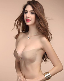 Wholesale Sexy Silicone Breast Forms - 2016 Hot Sale Sexy Lady Silicone Invisible Shape Push UP Bra Self-Adhesive Strapless Breast Form Bras 3 Sizes For Women Bandage Style