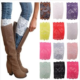 Wholesale Stretch Lace Trim Cotton - Lace Leg Warmers Flower Lace Boot Cuffs Women Fashion Stretch Trim Toppers Short Boot Socks Wedding Bride Handkerchiefs YYA686