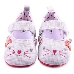 Wholesale cat girl shoes - 2016 Toddler Casual Shoes for Girls Cute Cat Design Lace Band cartoon print on Soft Sole Polka Dot Linning Infant Walking Shoes