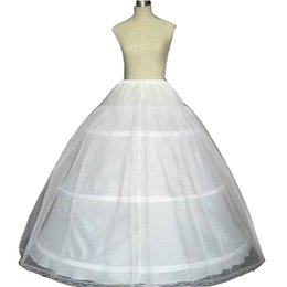 Wholesale Lace Petticoats - Hot Sale Ball Gown 3 Hoops White Bridal Petticoat with Lace Edge Wedding Crinoline 2016 Q05