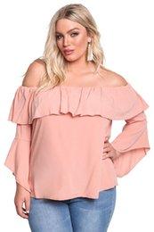 Wholesale Long Sleeve Layered Tops - CRYG blouse femme 2017 Autumn Blusas Long Sleeve Women Tops Plus Size Layered Off Shoulder Women Gauze Blouse 3XL