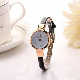 Wholesale Ladies Watches Small Dial - Excellent quality Top Luxury Amazing Women Small Dial Leather Analog Quartz Bracelet Wristwatch Ladies Simple Dress Watches Gift