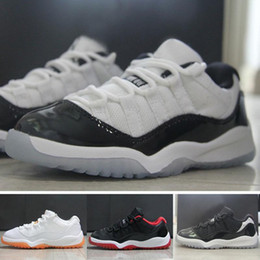 Wholesale Girls Cheap Patent Shoes - Cheap air retro 11 Girls Basketball Shoes with DMX Technique Breathable Boys Athletic Shoes with Patent Leather Material Round Toe Style