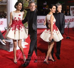 Wholesale Cute Maternity Pictures - Amal Clooney Red Floral Cute White Sweet 16 Cocktail Dresses Hail Caesar Premiere 2016 A-Line Jewel Charming Prom Party Evening Gowns