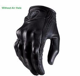 Wholesale Motorcycle Racing Leather Black - Moto Racing Gloves Leather motorcycle gloves cycling gloves Perforated Leather Motorcycle Gloves black color M L XL size