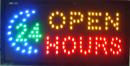 Wholesale Moving Led Signs - Open 24 Hours High Visible Bright Big Chip Open Hrs Led Moving Flashing Animated Sign Colors Neon Business