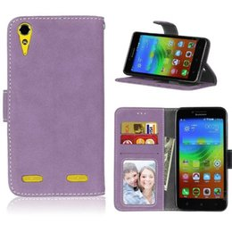 Wholesale silicone vibe - Matte Retro Wallet Leather Case For Lenovo A6000 A1000 A2010 Angus2 A5000 A7010 A7000 VIBE P1 X2 X3 Frosted Cards Stand Phone Cover 50pcs