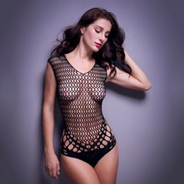 Wholesale Teddies Lingerie Free Shipping - Free shipping Lace camisole women sexy lingerie V-neck sleeveless large mesh sexy costumes teddy Nylon material erotic bodysuit