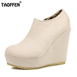 Wholesale Sexy Club Wedges - Hot sale Size 32-43 Lady High Wedges Shoes Women Platform Zipper Round Toe Solid Color Wedges Pumps Sexy Party Club Lady Footwear