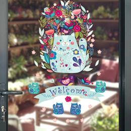 portas de vidro de janelas de arte Desconto Sorte Gato Decalque Da Parede Adesivo Casa / Loja de Decoração DIY Removível Art Vinyl Mural Para Porta De Vidro / Janela QTM266 Dos Desenhos Animados