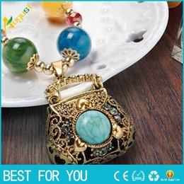 Wholesale Ruby Grades - 2016 Special offer Free shipping Boutique color opal oval hollow bead necklace statement vintage necklace ruby jewelry Top grade new hot
