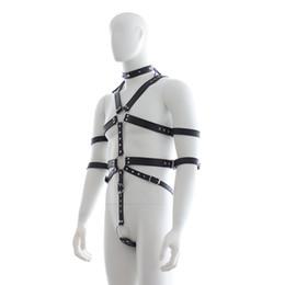 Wholesale Bondage Male Body - New Design Bondage Male Body Harness Straps Sexy Men's Fancy Dress Leather Bodysuit With Penis Ring Fetish Exotic Costume B0308010
