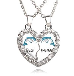 Wholesale unique ideas - Best Friends Necklace Set Silver Plated Dolphin Rhinestone Embellished Necklaces Gift Idea Unique Jewelry Chokers Necklaces