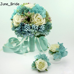 Wholesale Cream Bridal Flowers - Blue & Cream Ivory Rose Wedding Bridal Bouquet Banquet Party Artificial Fake Bride Bridesmaid Wrist Flower Groom Bestman Corsage Boutonniere