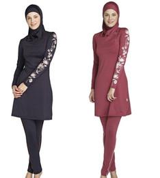 Wholesale muslim women swim suit - Modest Muslim Swimwear Islamic Swimsuit For Women hijab swimwear full coverage swimwear muslim swimming beachwear swim suit for women S-4XL