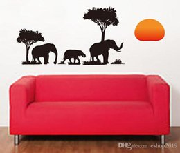 Wholesale Tree Elephant Wall Decal - New Arrival PVC Removable Elephant Tree 70x50cm DIY Decals Mural Wallpaper wall sticker Living Bed Room Background Decoration