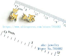 Wholesale Deer Belt - 5pcs 8mm Christmas cute deer charms wholesales price Internal Dia.8mm fit 8mm wristband belt keychain dog collar bracelets SL419