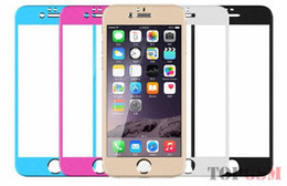 Wholesale Iphone 4s Color Screen Film - Front +back film for iphone5 color Glass protection film color plating Tempered glass screen protector for iphone 5S 5 6 6plus 4 4s