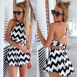 Wholesale Wholesale White Zig Zag Dress - PrettyBaby The new 2016 stripe dress suit Condole belt backless dress pants zig zag dress suit black white beach swimwear