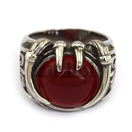 Wholesale cheap great gifts - New Arrival Stainless Steel Ring With Red Stone Cool Hot Men's Ring Top Quality & Cheap Price