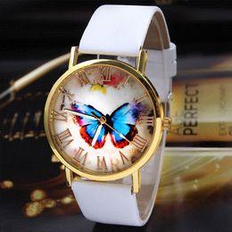 Wholesale Butterfly Shocks - Geneva Watch Womens Girl Butterfly Pattern PU Leather Strap Analog Quartz Wrist Casual Watch Wristwatches Cheap watch tag