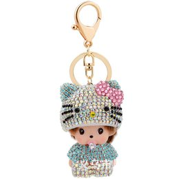 Wholesale Kt Jewelry - Lovely Mini Monchhichi Keychains Hot Car Key Chain Pacifier KT Hat Monchichi Keychain Party Birthday Gift Jewelry SMT-035