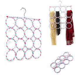 Wholesale Bamboo Scarves - Wholesale-2016 Hot 16-hole Ring Shawl Scarf Belt Tie Hangers Slots Holder Hook Hanger Organizer Clothes 36cmX36cm