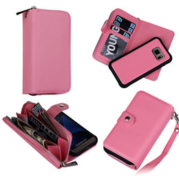 Wholesale Galaxy Purse Case - For Galaxy S7 Edge S7Edge Magnet Wallet Leather Zipper Gel Case Phone Cover with Money Removable Purse Pouch for Samsung G930 G9350 G930F