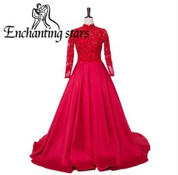 Wholesale High Necks Dresses Red - High Neck Red Evening Dresses New Fashion 2017 Long Sleeves Covered Button Back A-Line Prom Dress Sexy Lace Women Runway Fashion Party Gowns