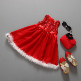 Wholesale Child Feather Costumes - Girls Winter Dress Christmas Red Sequined Feather Dresses Pleated Baby Children Princess Tutu Dress Sleeveless Toddler Girls Costume