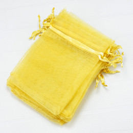 Wholesale Party Favor Bag Plain - Plain Gold Bolsas Organza Drawstring Pouches Jewelry Party Small Wedding Favor Gift Bags Packaging Gift Candy Wrap Square 5X7cm 2X2.75'' 100