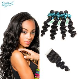 Wholesale Human Hair Wholesale Companies - Queen Love Hair Company Brazilian Loose Wave With Closure 4 Bundles Loose Wave Virgin Hair With Closure Human Hair With Closure On Sale