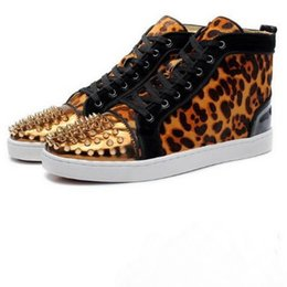 Wholesale High Tops Leopard Print - New Brand Men and Women Gloden Spiked Toe Leopard Real Horsehair Red Bottom High Top Sneakers,Design Causal Flats Sports Shoes 35-46