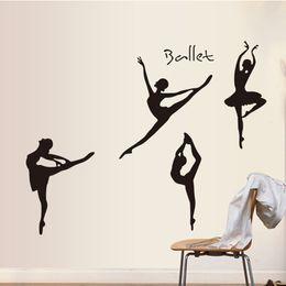 Wholesale Dancing Sticker - Ballet Ballerina Dancer Wall Sticker Dance Art Wall Decals for Kids Girls Bedroom Living Room Home Decorations WS174