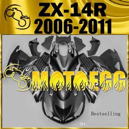 Wholesale Zx14 Black - Five Gifts Bestselling Motoegg Plastic Fairings Complete Set For Kawasaki Ninja ZX-14R 2006-2011 06-11 Kawasaki zx14 fairings Flames Black