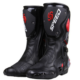 Wholesale Shoes Man 43 - PRO-BIKER SPEED BIKERS Motorcycle Boots Moto Racing Motocross Off-Road Motorbike Shoes Black White Red Size 40 41 42 43 44 45