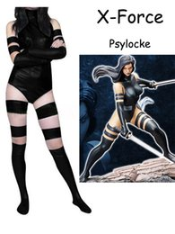 Wholesale X Men Women Costume - Black X Force Psylocke Costume Shiny Metallic Zentai X-men Female Women Halloween Party Cosplay ZenTai suit